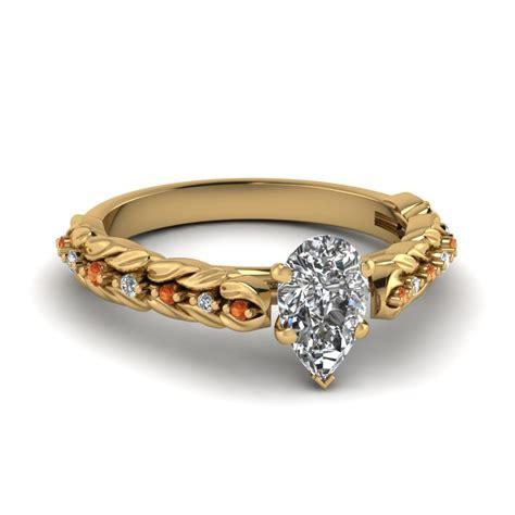 leaf pattern diamond ring half carat pear diamond leaf ring for women in 14k white