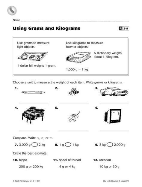 using grams and kilograms worksheet lesson planet