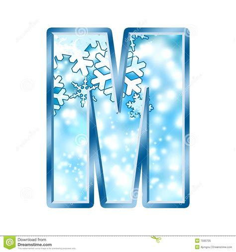 up letter with snow winter alphabet letter m stock illustration illustration