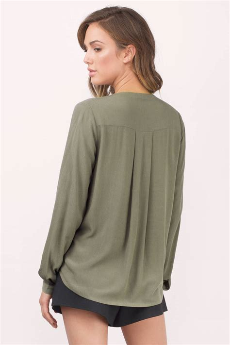 Oliv Blouse olive blouse surplice blouse green blouse 52 00