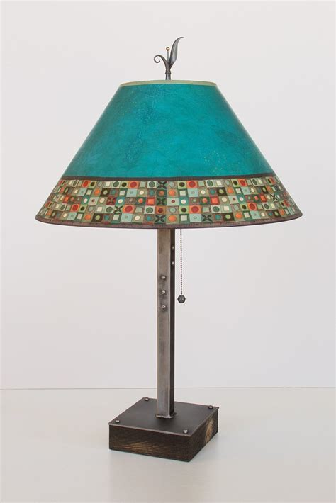 Conical L Shade by Steel Table L On Wood With Large Conical Shade In Jade