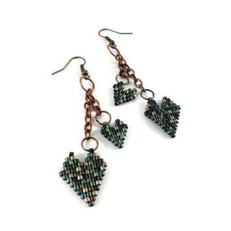 beaded superduo 2 hole bead valentines heart chain shop seed bead jewelry ideas on wanelo