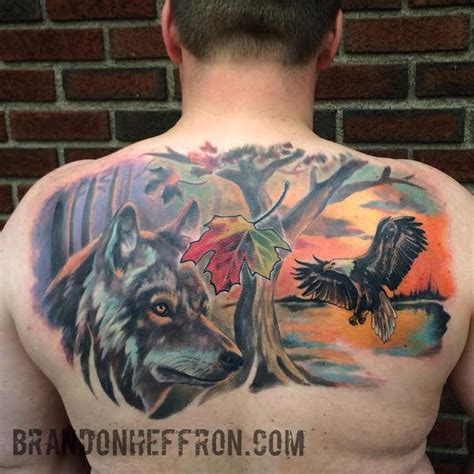 Eagle Wolf Nature Piece By Brandon Heffron Tattoonow Eagle And Wolf Tattoos 2