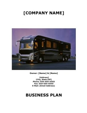 Tent Lodging And Rv Park Business Plan Rv Park Business Plan Template