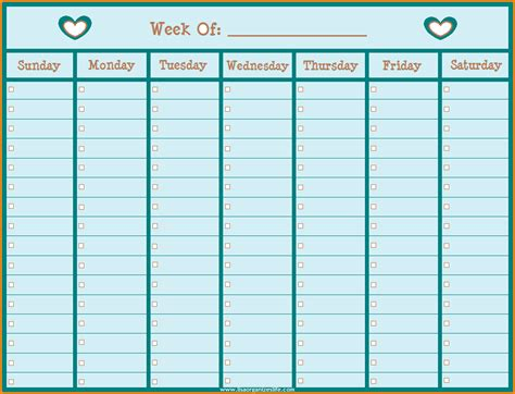 one week calendar template 7 printable weekly calendar with hours authorization letter