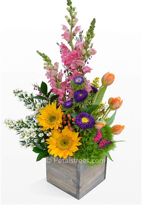 spring flower arrangements spring garden flowers arranged in a box pt pleasant nj