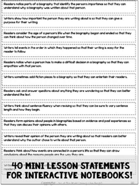 biography lesson plan grade 5 biography reading writing unit grade 5 40 detailed