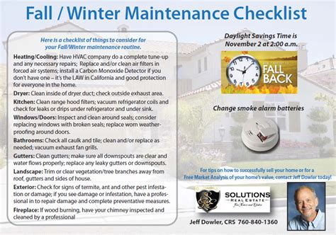 fall winter maintenance tips and daylight savings time