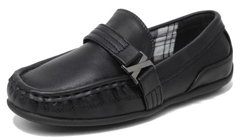 boys casual loafers boys casual smart slip on school leather look moccasin