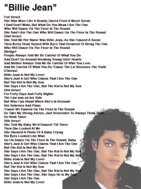 testo billie jean michael jackson billie jean lyrics sheet