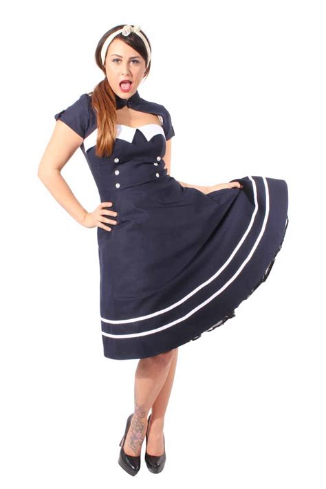swing kleid blau pin up sailor retro rockabilly bolero swing kleid