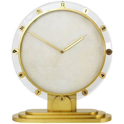 Desk Clocks For Sale by Large Modernist Brass Table Clock Germany 1950s For Sale