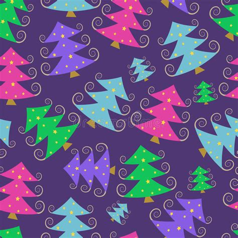 christmas tree new year pattern colorful cartoon simple christmas tree pattern stock