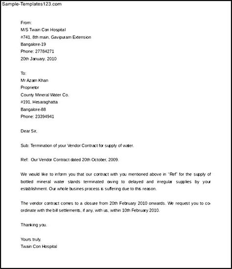 termination letter for a service supplier service termination letter template printabe