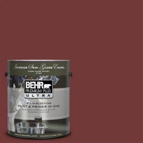 behr premium plus ultra 1 gal ul110 1 tuscan russet interior semi gloss enamel paint 375301