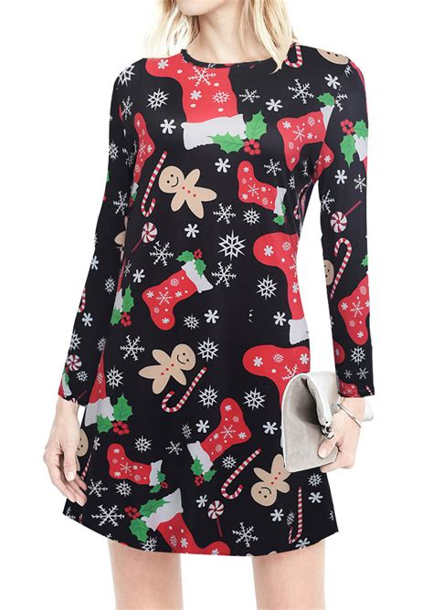 christmas printed casual dress bellelily