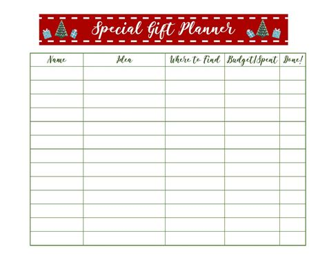 printable gift planner get organized for christmas with free printable holiday