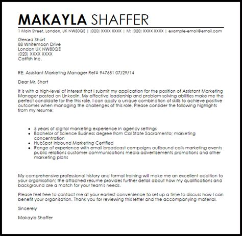 cover letter of marketing manager assistant marketing manager cover letter sle livecareer