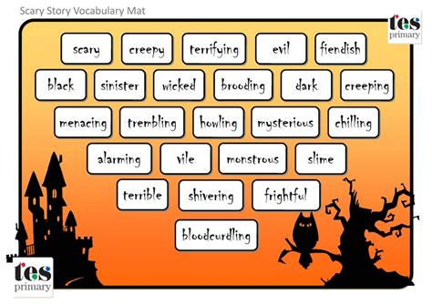 horror words list vocabulary mats with a scary theme 24 themed
