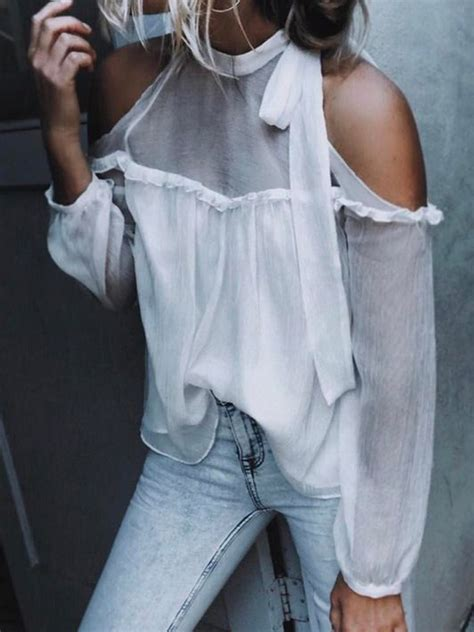 Tie Neck Sheer Blouse white tie neck cold shoulder sheer panel sleeve
