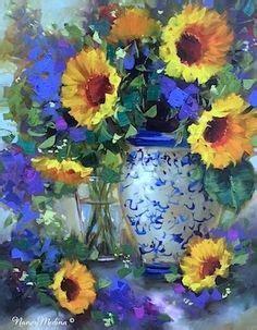 Petal rain sunflowers and a spring texas workshop flower paintings