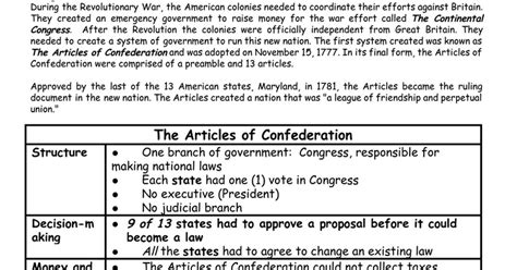 confederation quiz articles of confederation worksheet the best and most comprehensive worksheets