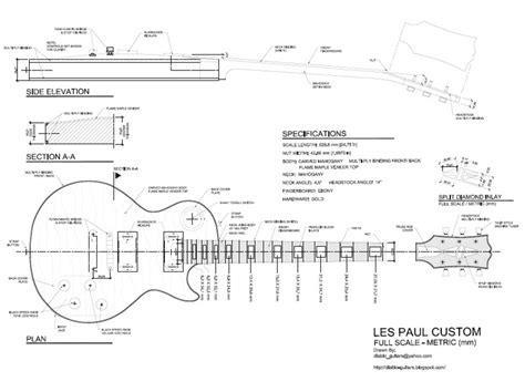 free les paul custom style guitar templates instruments
