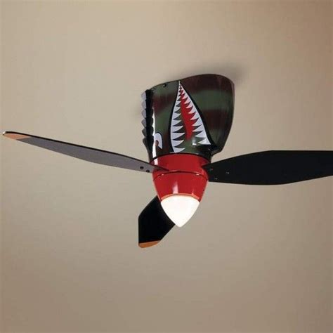 man cave ceiling fans warplane tiger shark ceiling fan home caves and boy rooms