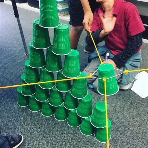 rubber sting ideas team building stem challenge make a cup tower using a