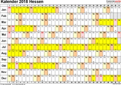 Jahreskalender 2018 Hessen Kalender 2018 Hessen Ferien Feiertage Excel Vorlagen