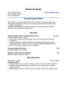 personal support worker cover letter psw cover letter exle personal support worker ebook
