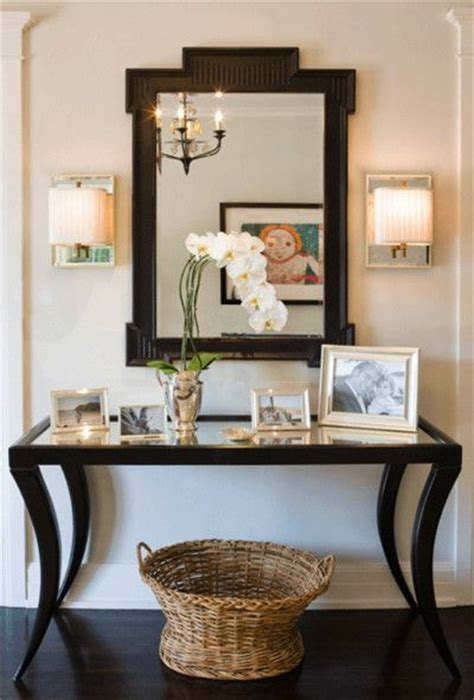 Ideas For Console Table With Baskets Design Mirror Mirror On The Wall Accessorize Above The Console Table As Well Mirror Light Fixtures