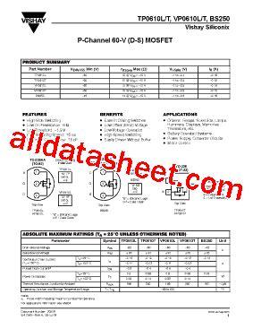 transistor mosfet bs250 bs250 datasheet pdf vishay siliconix