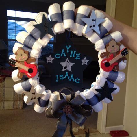 Rockstar Monkey Baby Shower Decorations by Rockstar Monkey Wreath My And I Made