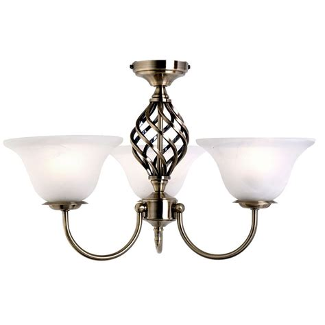spiral 3 light frosted glass ceiling light antique brass