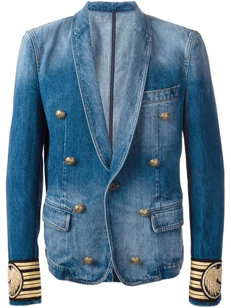 Blezer Denim balmain denim blazer in blue for lyst
