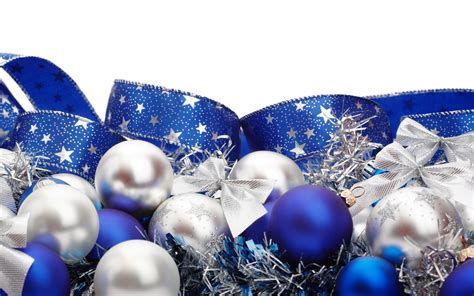 blue white ribbons christmas ornaments white background