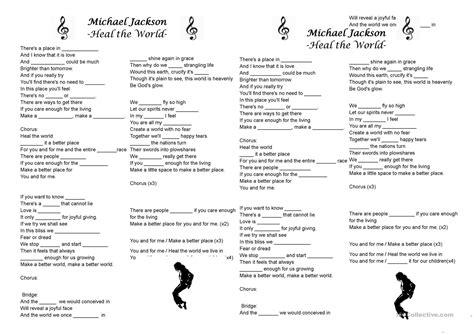 english worksheets michael jackson song michael jackson heal the world worksheet free esl