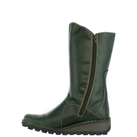 fly mes green leather womens boots shoes ebay