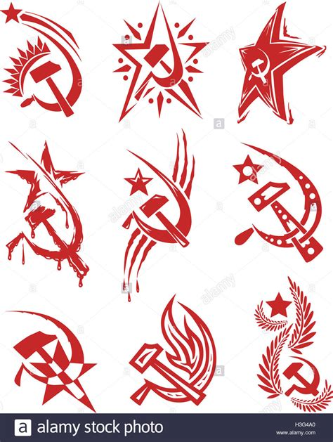 hammer and sickle tattoo set of color soviet symbols with and sickle and