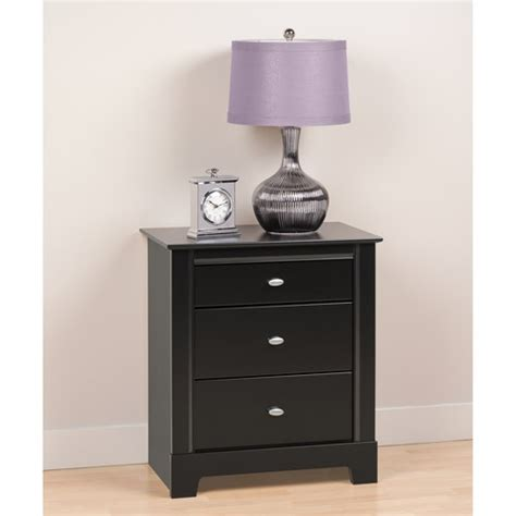 28 Inch High Nightstand Kallisto 3 Drawer Nightstand Black