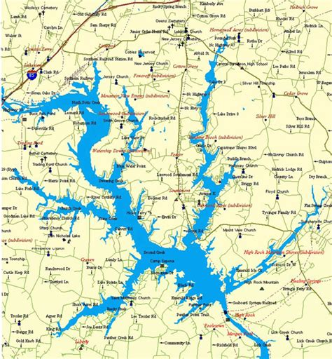 lakes in carolina map map of carolina lakes map
