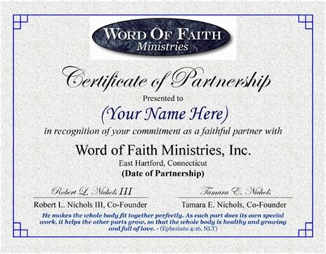 certificate of partnership template partnership word of faith ministries ct