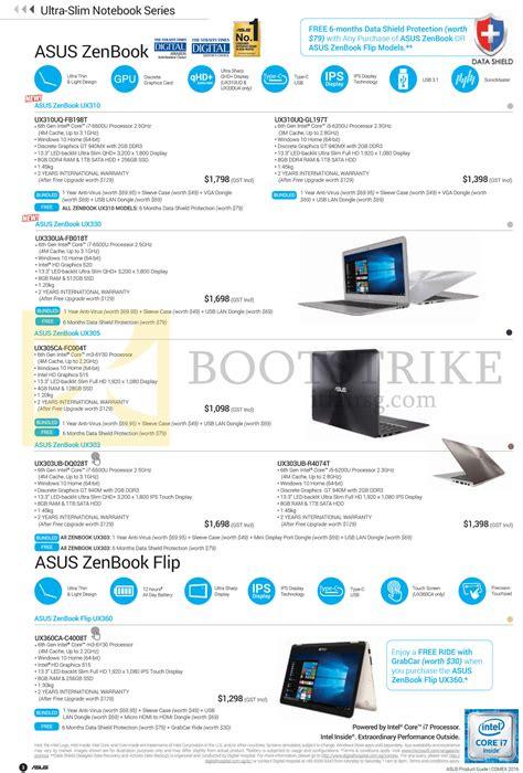 Laptop Asus Singapore Prices asus notebooks zenbook ux310 ux330 ux305 ux303 flip ux360 series comex 2016 price list