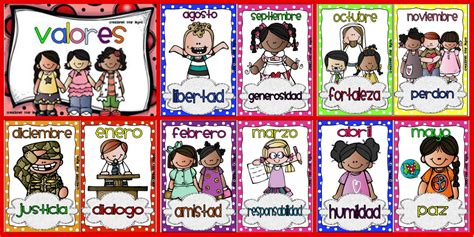 imagenes que representan valores familiares trabajamos los valores tarjetas imprimibles 12 meses y 12