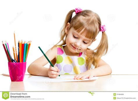 Kid Girl Drawing With Colourful Pencils Stock Image Image Of Dress Caucasian 31484699 Kid Drawing Picture