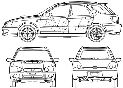 car blueprints subaru impreza blueprints vector drawings clipart   templates