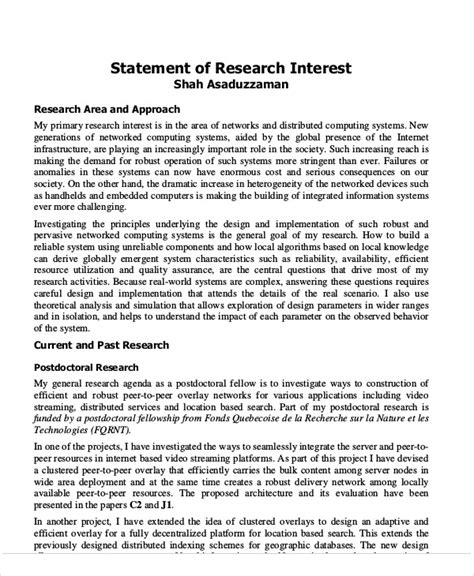 Research Interests Letter 9 Sle Statement Of Interest Free Sle Exle Format
