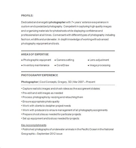 Photographer Resume by 15 Photographer Resume Templates Doc Pdf Free