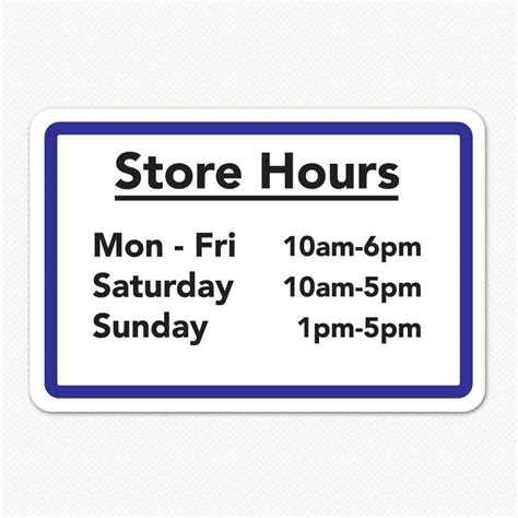Business Hours Sign Custom Store Hours Sign Sticker Genius Hours Template